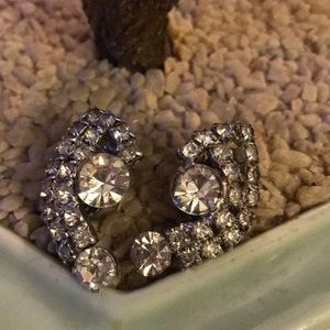 Vintage crystal clip on earring
